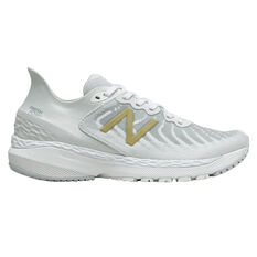 New Balance 860 v11 D Womens Running Shoes White/Gold US 6, White/Gold, rebel_hi-res