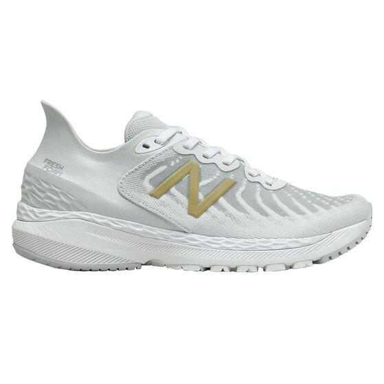 New Balance 860 v11 D Womens Running Shoes, White/Gold, rebel_hi-res