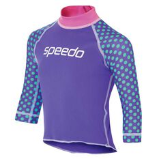 Speedo Toddler Girls Logo Long Sleeve Sun Top Blue/Purple 2 Toddler, Blue/Purple, rebel_hi-res