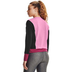 Under Armour Womens Rival Terry Crew Sweater, Pink, rebel_hi-res