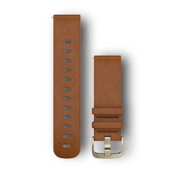 Garmin Quick Release 20mm Light Brown Leather / Gold Watch Band, , rebel_hi-res