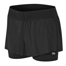 Running Bare Womens Match Point 2 In 1 Shorts Black 8, Black, rebel_hi-res