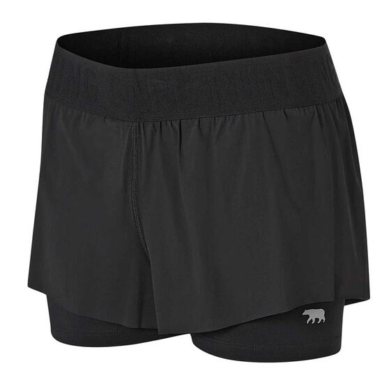 Running Bare Womens Match Point 2 In 1 Shorts, Black, rebel_hi-res