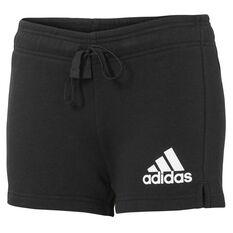 adidas Womens Essentials Solid Shorts Black / White XS Adult, Black / White, rebel_hi-res