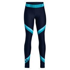 Under Armour Girls HeatGear Ankle Crop Tights Navy / Blue XS, Navy / Blue, rebel_hi-res