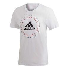 adidas Mens Must Haves Emblem Tee White S, White, rebel_hi-res