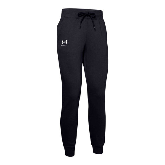 Under Armour Womens Rival Fleece Graphic Track Pants, Black, rebel_hi-res