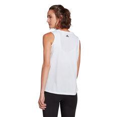 adidas Womens Essentials Stacked Logo Tank, White, rebel_hi-res