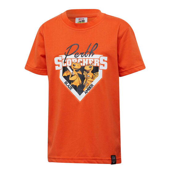 Perth Scorchers 2019/20 Kids Mascot Tee, Orange, rebel_hi-res