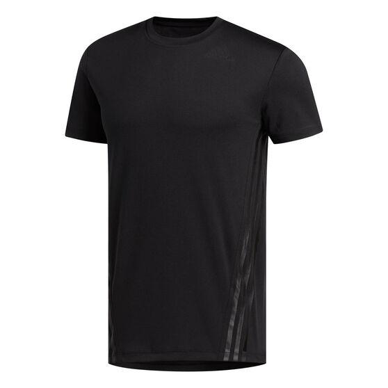 adidas Mens AEROREADY 3-Stripes Tee Black S, Black, rebel_hi-res