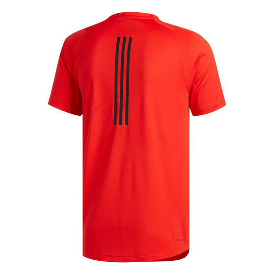 adidas Mens FreeLift Sport Fitted 3-Stripes Training Tee, Red, rebel_hi-res