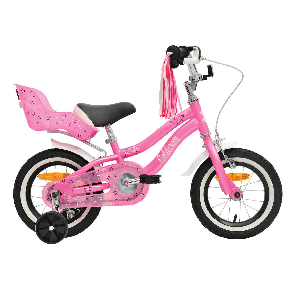 Pink Stars Bikes-Up Kids Bicycle Toy Doll Seat Carrier