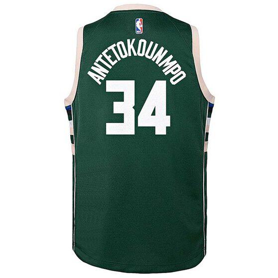 Nike Milwaukee Bucks Giannis Antetokounmpo Icon 2019 Kids Swingman Jersey, Green, rebel_hi-res