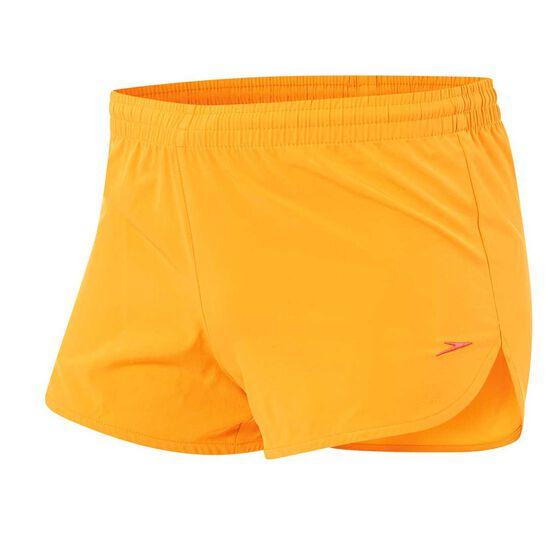 Speedo Womens Work Out Shorts Orange 16, Orange, rebel_hi-res
