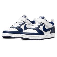 Nike Court Borough Low 2 Kids Casual Shoes, White/Navy, rebel_hi-res