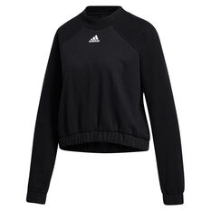 adidas Womens Rib Crew Sweatshirt Black XS, Black, rebel_hi-res