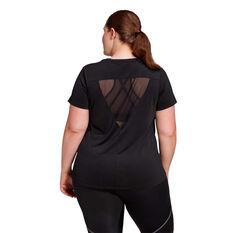 adidas Womens Glam On Badge Of Sport Tee Plus Black XL, Black, rebel_hi-res