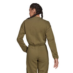 adidas Womens Hyperglam Crop Crew Sweatshirt Khaki XS, Khaki, rebel_hi-res
