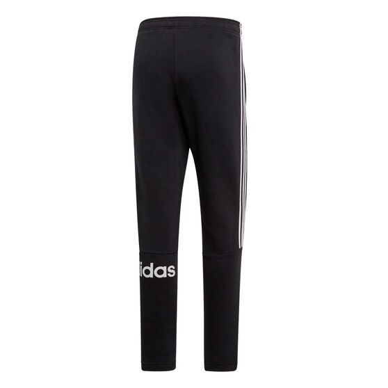 adidas Mens 3 Stripe Fleece Track Pants, Black / White, rebel_hi-res