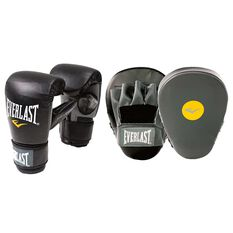 Everlast Boxing Glove and Mitt Combo Black / Grey S / M, Black / Grey, rebel_hi-res
