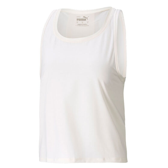 Puma Womens Forever Luxe Tank, White, rebel_hi-res