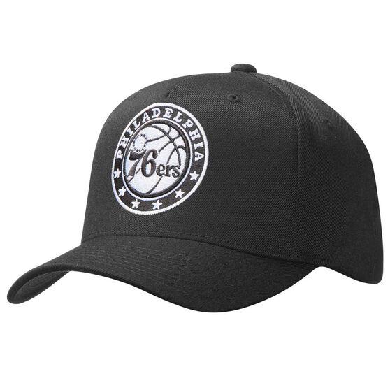 Mitchell and Ness Philadelphia 76ers BNW Logo 110 Cap Black OSFA, , rebel_hi-res