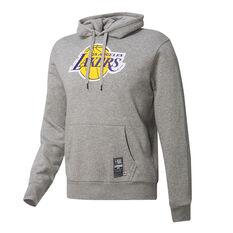 Los Angeles Lakers Mens Fleece Hoodie Grey S, Grey, rebel_hi-res