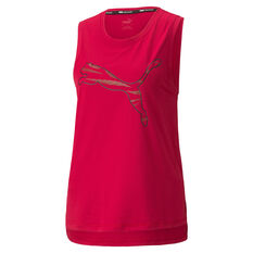 Puma Womens Favourite Cat Muscle Training Tank Red XS, Red, rebel_hi-res