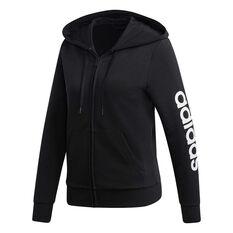 adidas Womens Essentials Linear Full Zip Hoodie Black / White XS, Black / White, rebel_hi-res