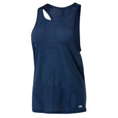 Running Bare Womens Baseline Workout Tank Navy 8, Navy, rebel_hi-res