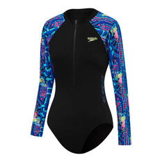Speedo Girls Long Sleeve Zip Up Swimsuit Black 12, Black, rebel_hi-res