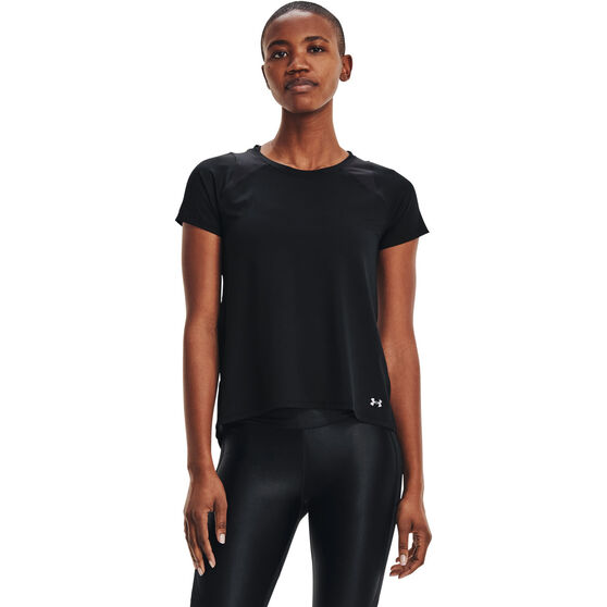 Under Armour Womens Iso-Chill Run Tee, Black, rebel_hi-res