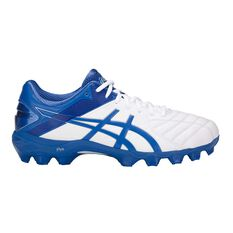 Asics GEL Lethal Ultimate IGS 12 Mens Football Boots White / Blue US 7 Adult, White / Blue, rebel_hi-res