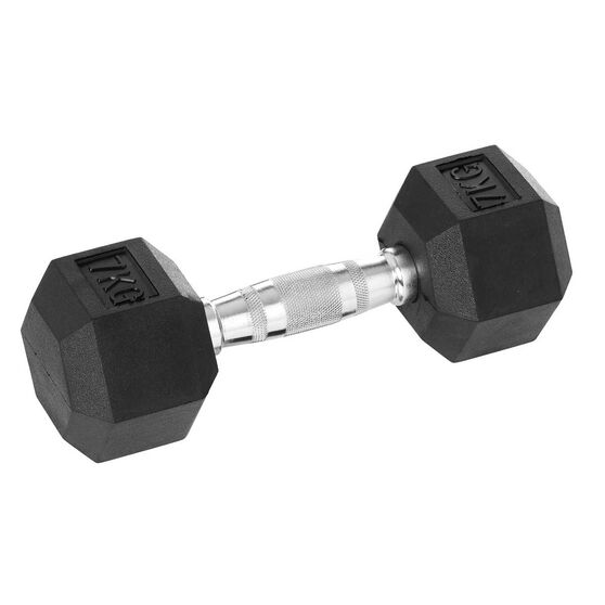 Celsius 7kg Rubber Hex Dumbbell, , rebel_hi-res