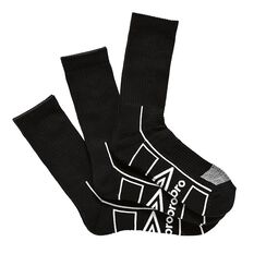 Umbro Mens Crew 3 Pack Socks Black OSFA, , rebel_hi-res
