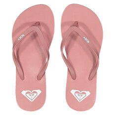 Roxy Azul Womens Thongs Pink/White US 6, Pink/White, rebel_hi-res