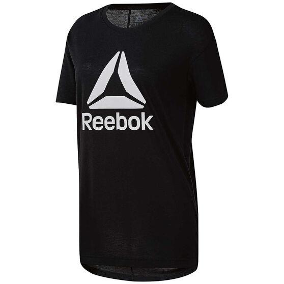 Reebok Womens Workout Ready 2.0 Big Logo Tee, Black, rebel_hi-res