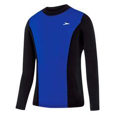 Speedo Boys Active Long Sleeve Rash Vest Black / Blue 8, Black / Blue, rebel_hi-res