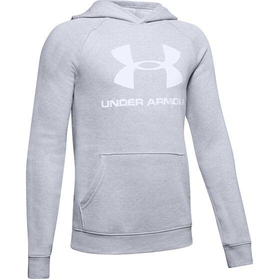 Under Armour Boys Rival Logo Hoodie, Grey / White, rebel_hi-res