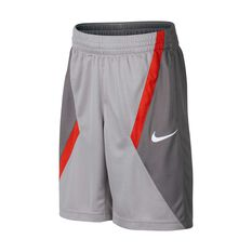Nike Dri-FIT Boys Basketball Shorts Grey / Red XS, Grey / Red, rebel_hi-res