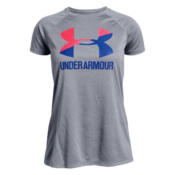 Under Armour Girls Big Logo Solid Tee, Grey / Pink, rebel_hi-res