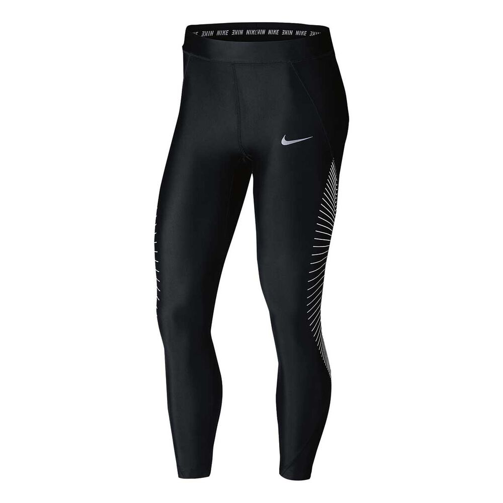 fb408ce31cda60 Nike Womens Power Speed 7 / 8 Graphic Running Tights Black / Silver XL,  Black