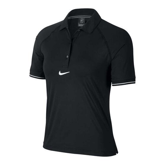 Nike Womens Court Tennis Polo, Black, rebel_hi-res