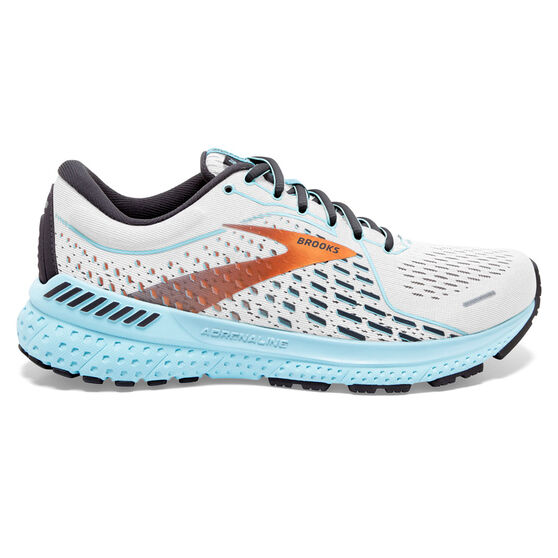 Brooks Adrenaline GTS 21 Womens Running Shoes, White/Blue, rebel_hi-res