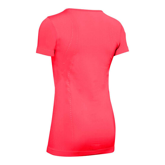 Under Armour Womens Seamless Tee, Red, rebel_hi-res