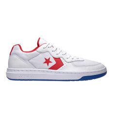 Converse Rival Leather Ox Mens Casual Shoes White / Red US 7, White / Red, rebel_hi-res