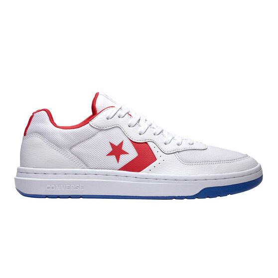 Converse Rival Leather Ox Mens Casual Shoes, White / Red, rebel_hi-res