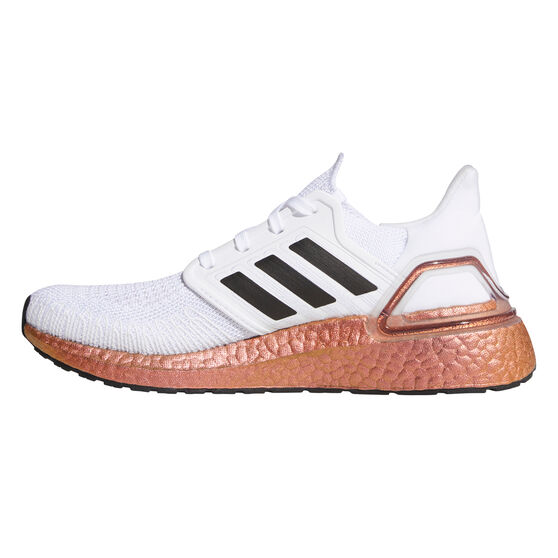 adidas Ultraboost 20 Womens Running Shoes, White/Black, rebel_hi-res