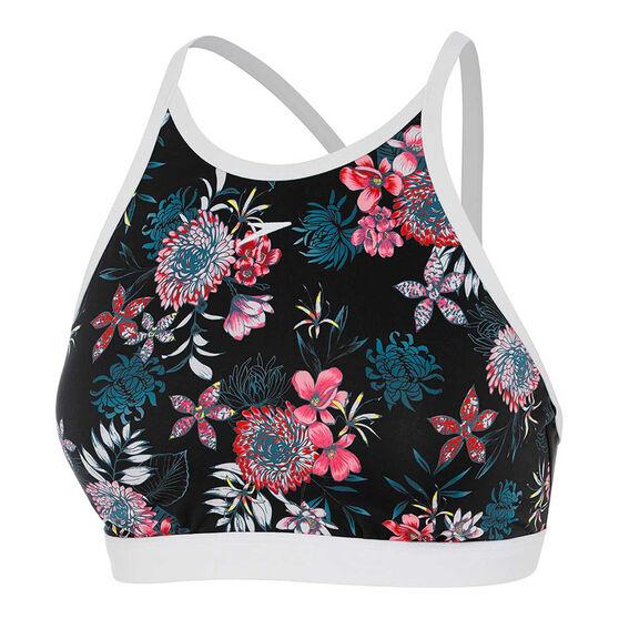 Speedo Womens Eco Fabric Swim Bikini Top, Black / Print, rebel_hi-res