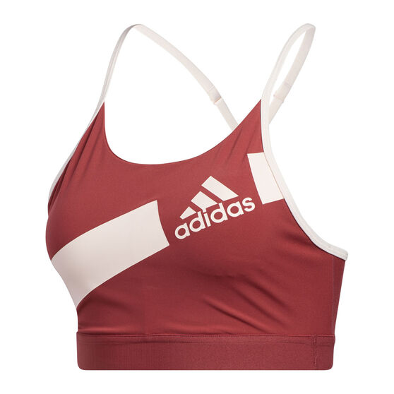 adidas Womens Flow Freely Disrupt Sports Bra, Red, rebel_hi-res